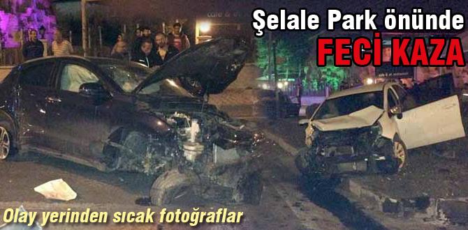 Şelale park önünde feci kaza