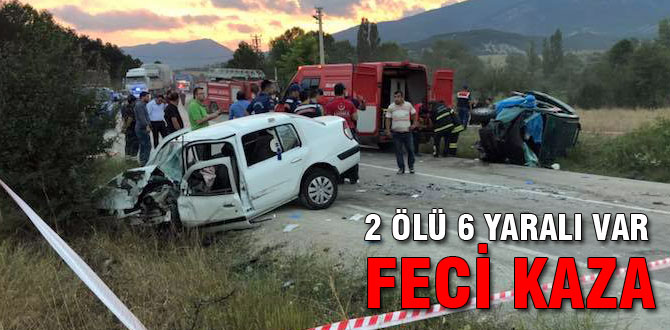 Çok feci kaza; 2 ölü 6 yaralı