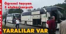 Öğrencileri taşıyan otobüsler birbirine girdi