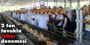 Mengen'de aşçılık festivalinde 'tavuk çevirme' rekor denemesi